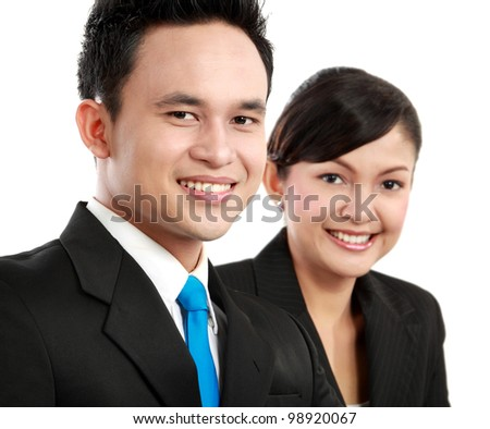 close up Portrait of a woman and man office worker smiling looking at the camera