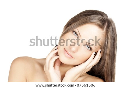 close up portrait of a young beautiful woman with health skin on face