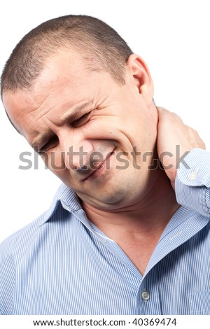 Close up portrait of a young businessman with neck pain