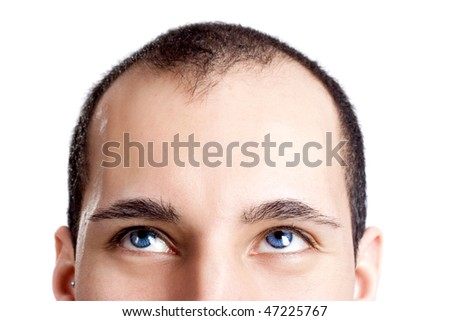 Close-up portrait of a young man with blue eyes isolated on white - OBS: model use lens contact #47225767
