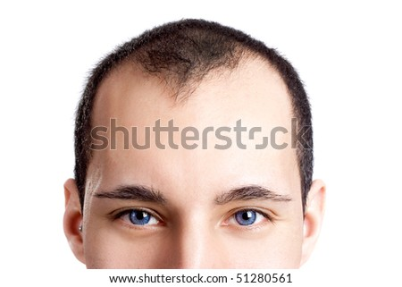 Close-up portrait of a young man with blue eyes isolated on white - OBS: model use lens contact #51280561