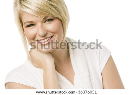 Close-up portrait of a young pretty woman over white