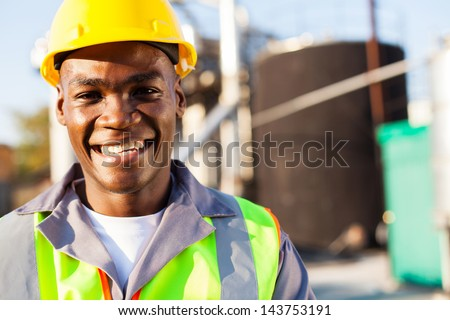 close up portrait of african american petrochemical worker outside the factory #143753191