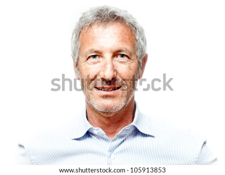 Shutterstock close up portrait of an elegant senior man blue eyed and with grey hair isolated on white background