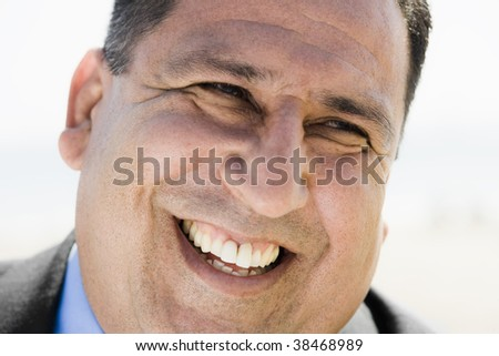 Close up Portrait of an Overweight Smiling Businessman