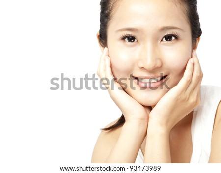 Close up portrait of asian woman's face