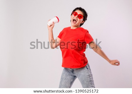 Close-up portrait of attractive pretty cute stylish cute cute cute funny brunette in everyday red t-shirt holding looking at paper Cup of coffee isolated on white background,concept of love for coffe #1390525172