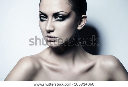 close up portrait of attractive sexy woman with perfect skin