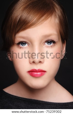 stock photo Closeup portrait of beautiful teen girl with prom makeup