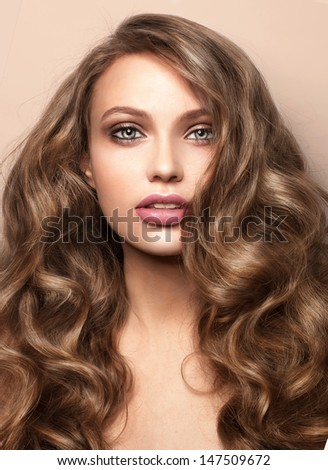 closeup portrait of beautiful woman fashion shiny
