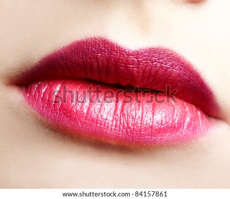 close-up portrait of beautiful woman lips make up