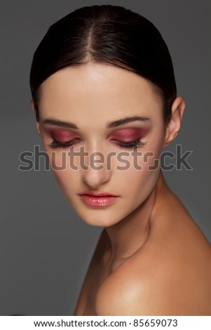 Close-up portrait of beautiful woman with  makeup