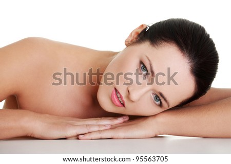 Close up portrait of beautiful young caucasian woman, isolated on white background