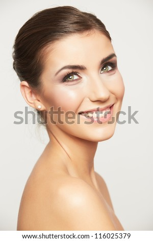 Close up portrait of beautiful young woman face. Isolated on white background. Portrait of a female model. #116025379