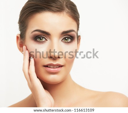 Close up portrait of beautiful young woman face. Isolated on white background. Portrait of a female model. Hair style comb back. - stock photo
