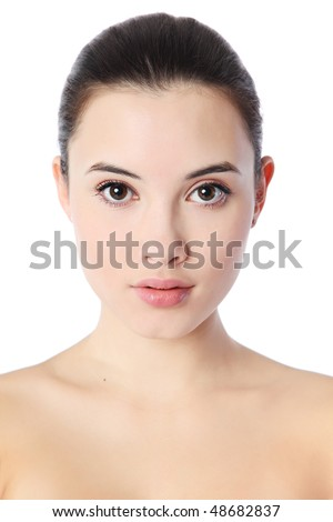 Close-up portrait of beautiful young woman, isolated over white background