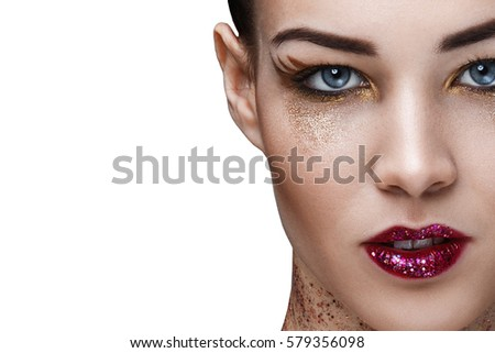 Portrait of attractive female with beautiful makeup and