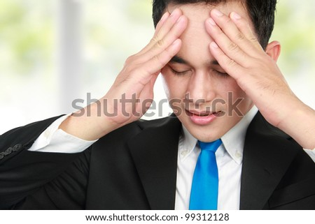 close up portrait of Business man having stress