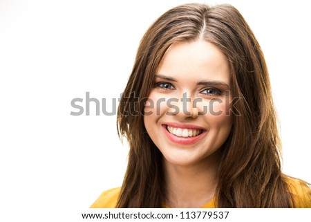 Close up portrait of casual woman . Studio isolated on white background .