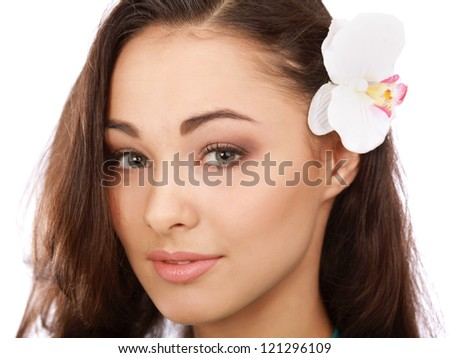 Close-up portrait of caucasian young woman with beautiful eyes isolated on white background