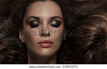 close up portrait of charming brunette