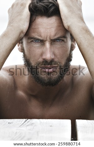 Close up Portrait of Confident Fashion Handsome Man with No Shirt