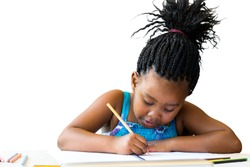 Close up portrait of cute african child with braids drawing with cool pencil.Isolated on white background.