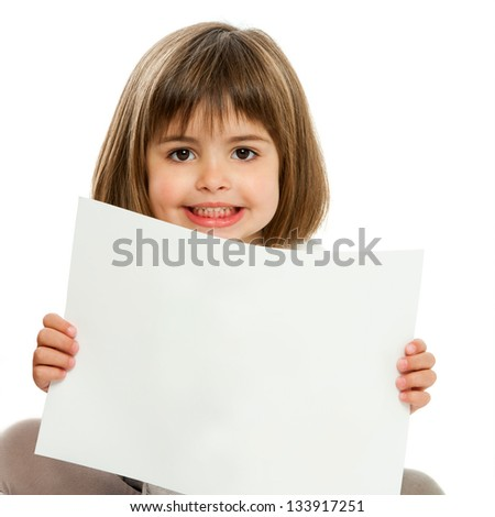 Close up portrait of cute girl holding blank paper.Isolated.