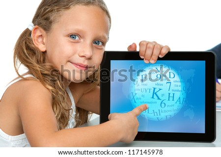 Close up portrait of cute girl touching digital tablet screen.Isolated on white.