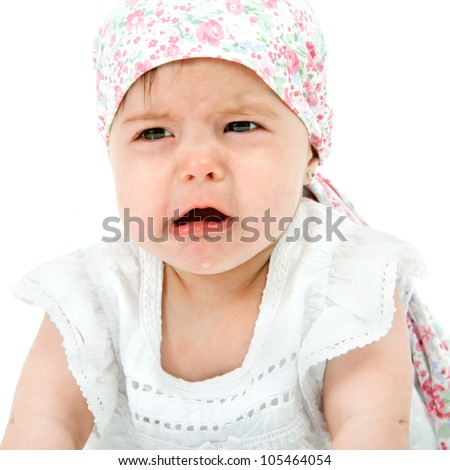 Close up Portrait of cute little baby girl with sad face expression. Isolated on white background.