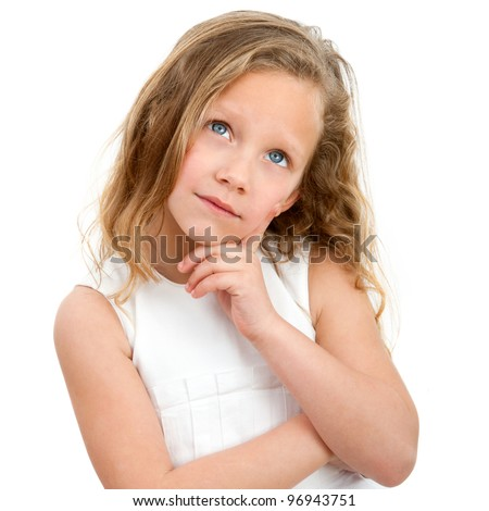 Close up Portrait of cute little girl with wondering face expression. Isolated on white background.
