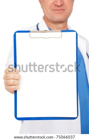 close-up portrait of doctor holding empty clipboard
