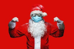 Close up portrait of funny old, cool, bearded  Santa Claus weari