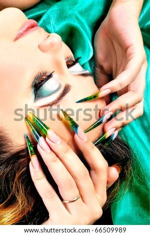 close-up portrait of girl's make up