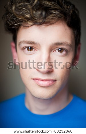 Close up portrait of handsome young male, shallow depth of field, focus on eyes