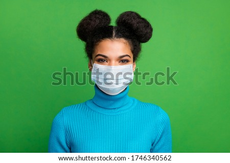 Close-up portrait of her she funky attractive hipster brunet girl wearing gauze reusable n95 mask decontamination cov flu flue isolated bright vivid shine vibrant green color background