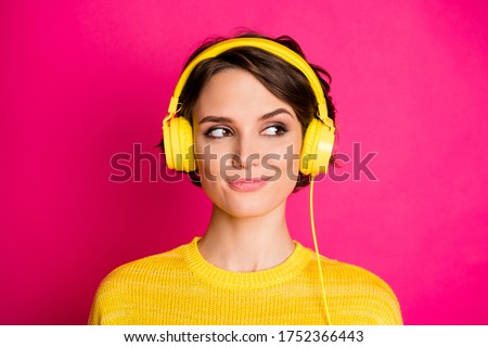 Close-up portrait of her she nice attractive lovely cute charming cheery girl listening podcast playlist modern track isolated on bright vivid shine vibrant pink fuchsia color background