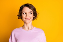 Close-up portrait of her she nice attractive lovely cute curious cheerful cheery girl creating solution thinking isolated on bright vivid shine vibrant yellow color background