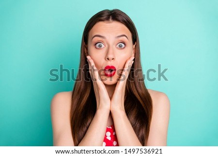 Close-up portrait of her she nice attractive lovely funny girlish cheerful cheery straight-haired girl showing omg emotion expression isolated on green blue turquoise bright vivid shine background