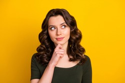 Close-up portrait of her she nice attractive lovely pretty brainy curious wavy-haired girl creating idea question isolated on bright vivid shine vibrant yellow color background