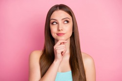 Close-up portrait of her she nice attractive lovely pretty charming cheerful cheery curious straight-haired girl creating new strategy isolated over pink pastel color background