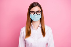 Close-up portrait of her she nice attractive lovely red-haired girl wearing safety gauze mask mers cov infection pandemia prevention isolated over pink pastel color background