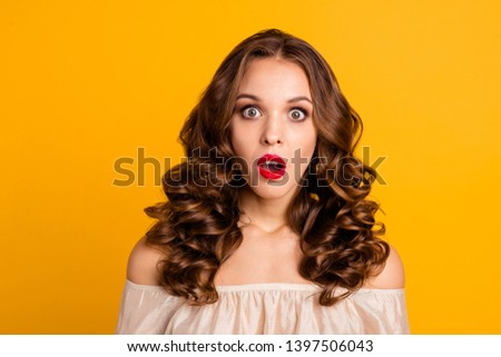 Close-up portrait of her she nice attractive lovely stunning winsome well-groomed terrified wavy-haired lady opened mouth isolated over bright vivid shine yellow background