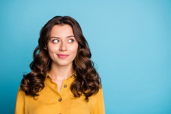 Close-up portrait of her she nice attractive lovely wavy-haired girl thinking creating new plan isolated over bright vivid shine vibrant green blue turquoise color background