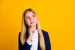Close-up portrait of her she nice attractive minded genius brainy schoolchild nerd creating strategy science academic progress isolated bright vivid shine vibrant yellow color background