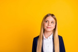 Close-up portrait of her she nice attractive pretty lovely brainy genius minded long-haired girl creating strategy science solution isolated bright vivid shine vibrant yellow color background