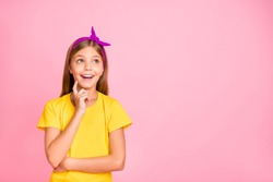 Close-up portrait of her she nice attractive pretty winsome cheerful cheery brainy pre-teen girl scientist wearing yellow t-shirt finding solution isolated over pink pastel background