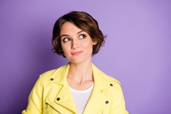 Close-up portrait of her she nice-looking attractive lovely cute cheery dreamy brown-haired girl thinking creating solution isolated on bright vivid shine vibrant lilac violet purple color background