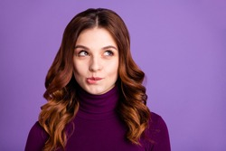 Close-up portrait of her she nice-looking attractive lovely funny curious cheerful cunning wavy-haired lady isolated over bright vivid shine purple violet lilac background