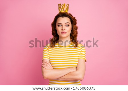 Close-up portrait of her she nice-looking attractive lovely pretty rich arrogant content wavy-haired girl folded arms wearing exclusive crown isolated over pink pastel color background Stock fotó ©